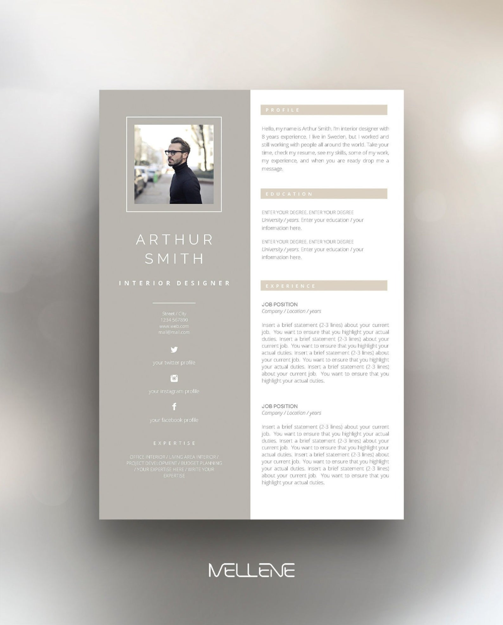 Resume Template 3 Page Cv Template Cover Letter Instant Download For Ms Word Arthur Bewerbung Lebenslauf Vorlage Lebenslauf Kreativer Lebenslauf