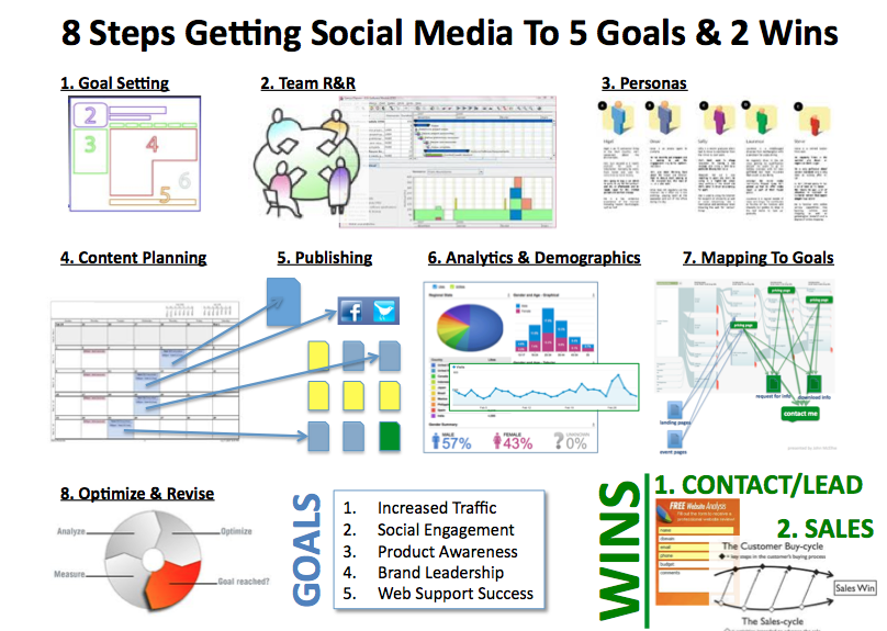 Steps To Social Media Success   Goals And  Wins Infographic