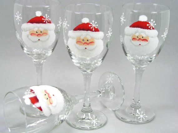 Set of 4 santa claus face hand painted wine by for Santa glasses for crafts