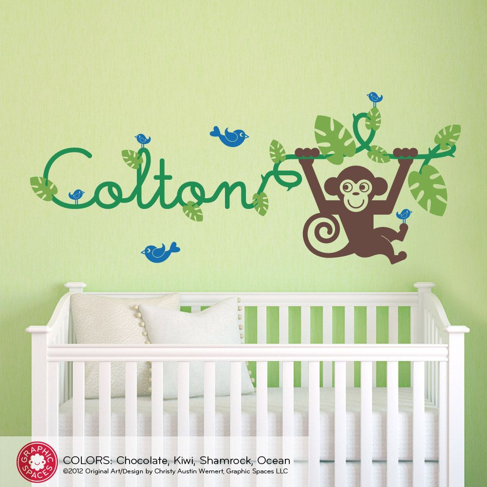 Monkey Wall Decal: Jungle Vine Name Baby Nursery Children. $55.00 ...