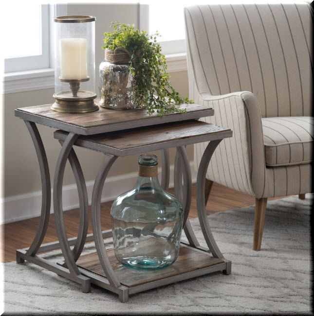 Nesting End Tables 2 Piece Wood Metal Aged Driftwood Living Room Furniture - Driftwood sofa Table
