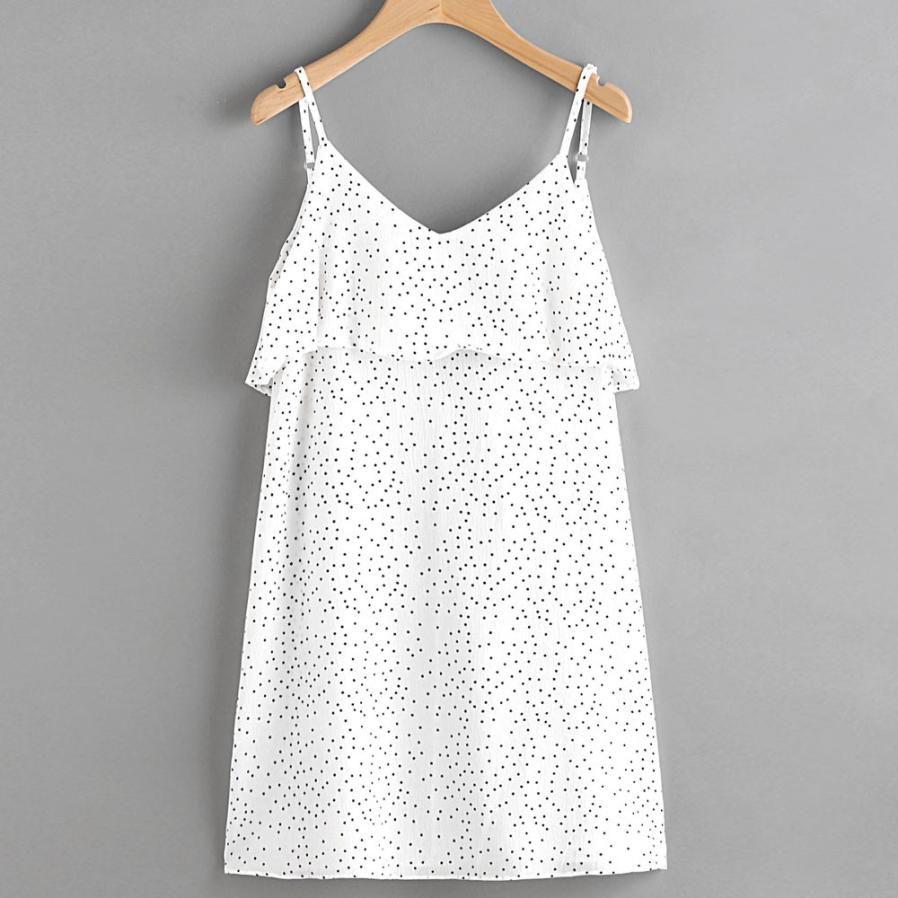 Womenus summer dress japanese style fashion dot print spaghetti