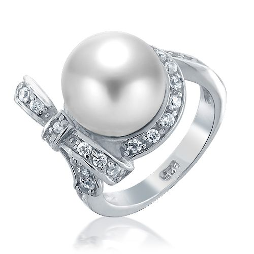 925 Sterling Silver CZ Diamond Bow Ribbon South Sea Shell White Pearl Ring