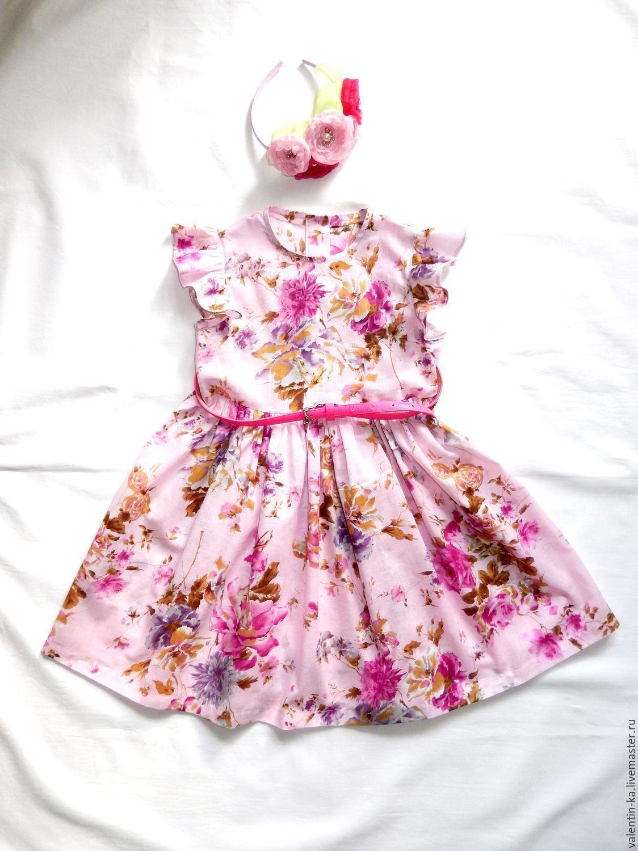 d82098b0e4f Handmade dress for girl  Платье для девочки из батиста рост 116 - розовый