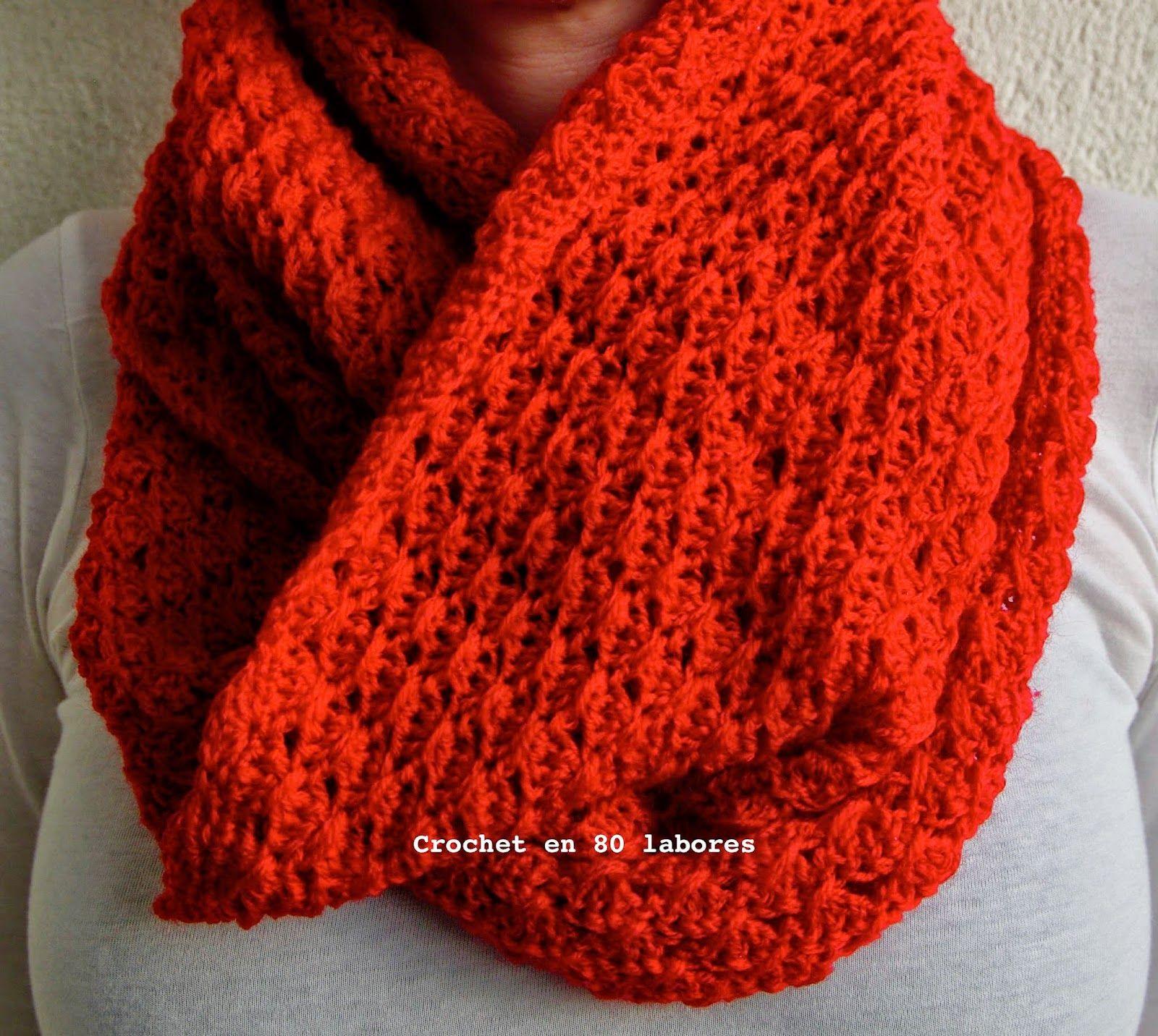 Crochet en 80 labores: Bufanda infinita en punto cruzado | Tejido ...