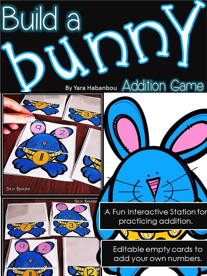 This activity is a fun way to get children to practice addition strategies using mental math. The game requires the students to find the bunnies with the two numbers to match the addition number and finally make a true addition statement.