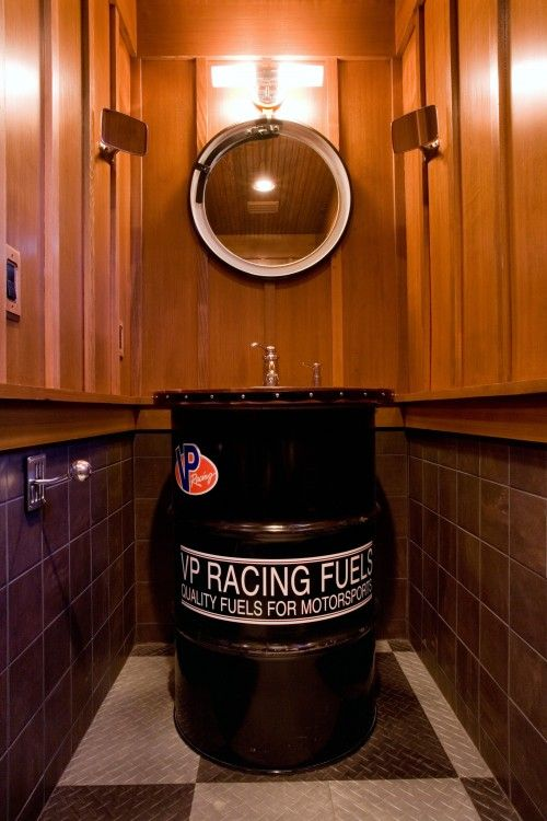 Nascar Racing Man Cave Bathroom Complete With 55 Gallon Fuel Drum Sink Diamond Plate Checkered Flag Pattern Man Cave Design Man Cave Bathroom Man Cave Decor