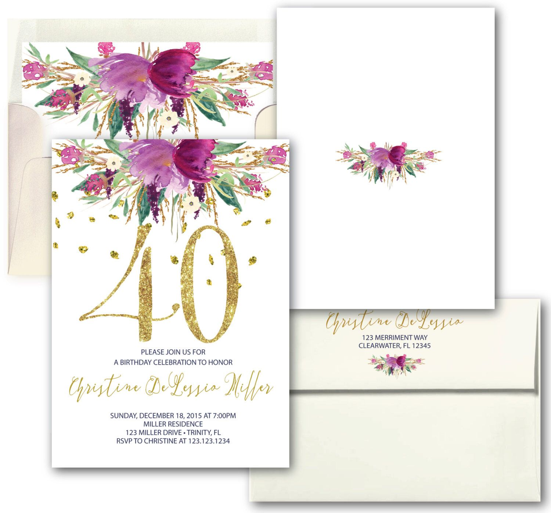 Purple flower gold glitter 40th Birthday Invitation // Floral ...