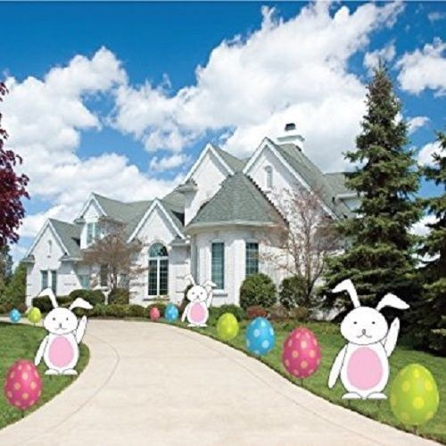 Easter Garden Stake Path Way Yard Signs Lawn Decorations Spring Bunny 12 Pc  Set