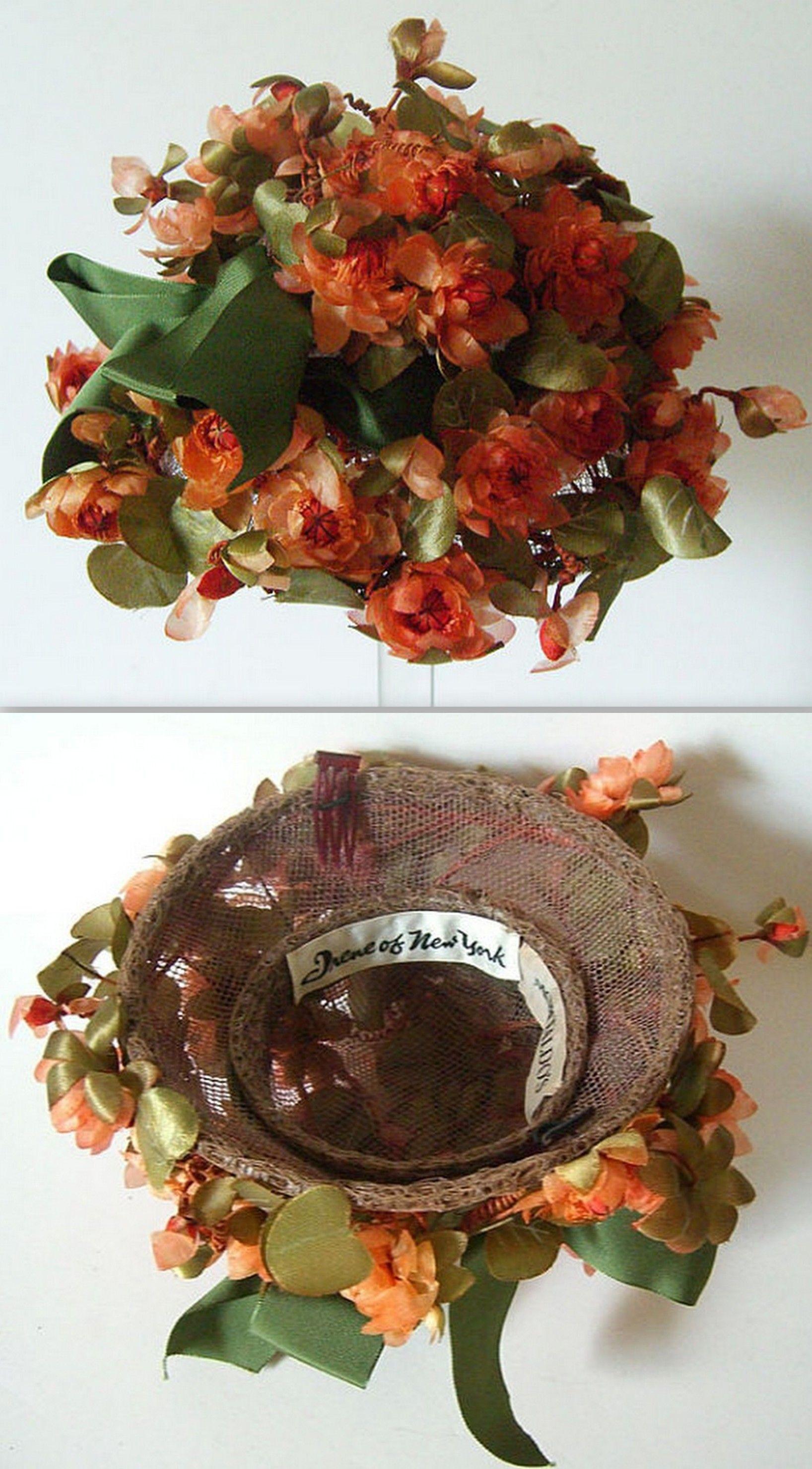 1950s Vintage Designer Irene of New York Floral Summer Womens Hat