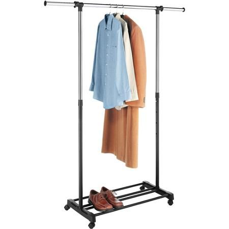 Walmart Clothes Hanger Rack Awesome Whitmor Deluxe Adjustable Garment Rack Chromeblack  Walmart Design Ideas