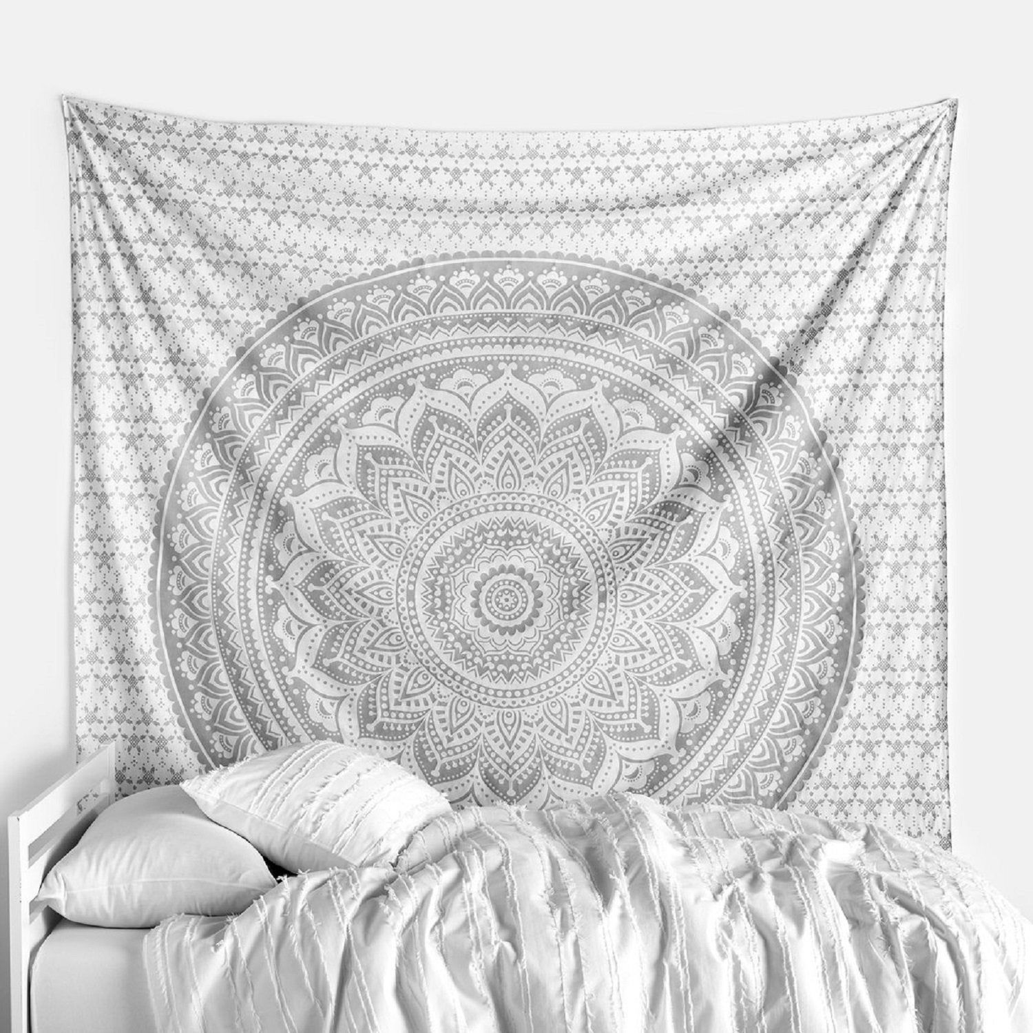 Indian Twin Tapestry Silver Ombre Mandala Wall Hanging Bedspread Hippie Bohemian