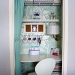 Bedroom,Elegant Closet Ideas For Small Bedrooms Design Ideas With Hanging Storage Shelf And Modern White Wood Study Table On Combined White Plastic Chair Plus Dazzling Light Wall Also Cool Blue Curtains,Modern Closet Ideas For Small Bedrooms Design Decoration
