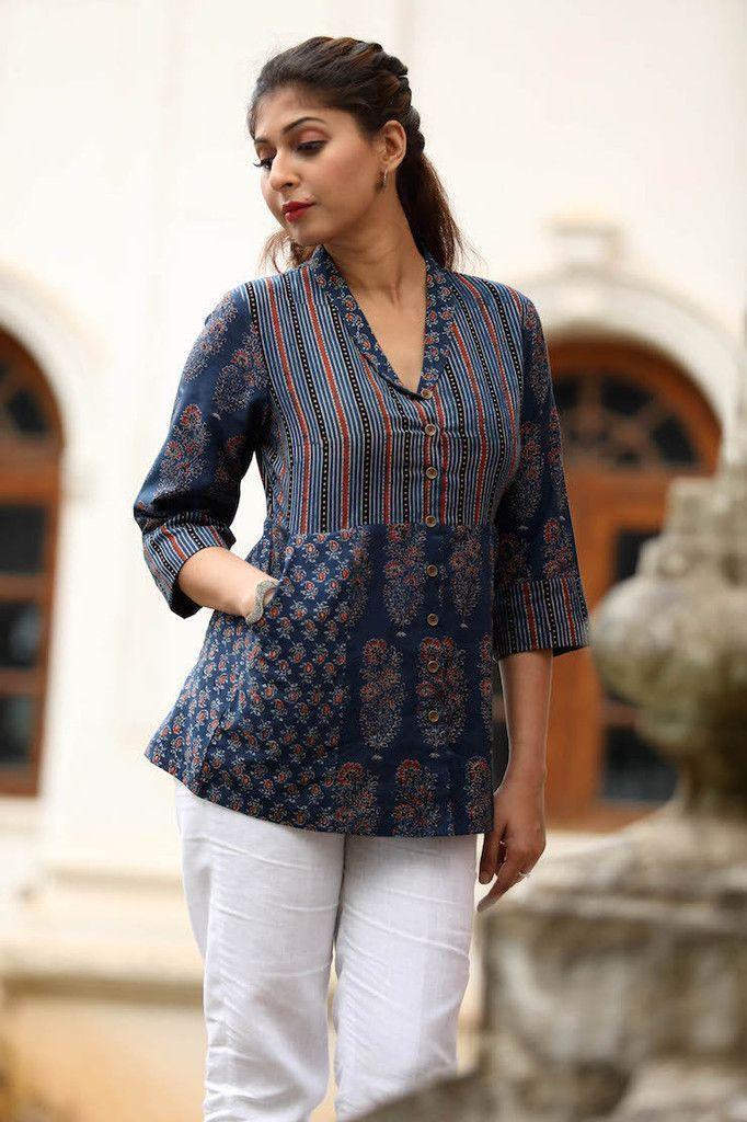 cca4389d51ff6 Indigo Rolled Lapel Top | Blouses | Short kurti designs, Stylish ...
