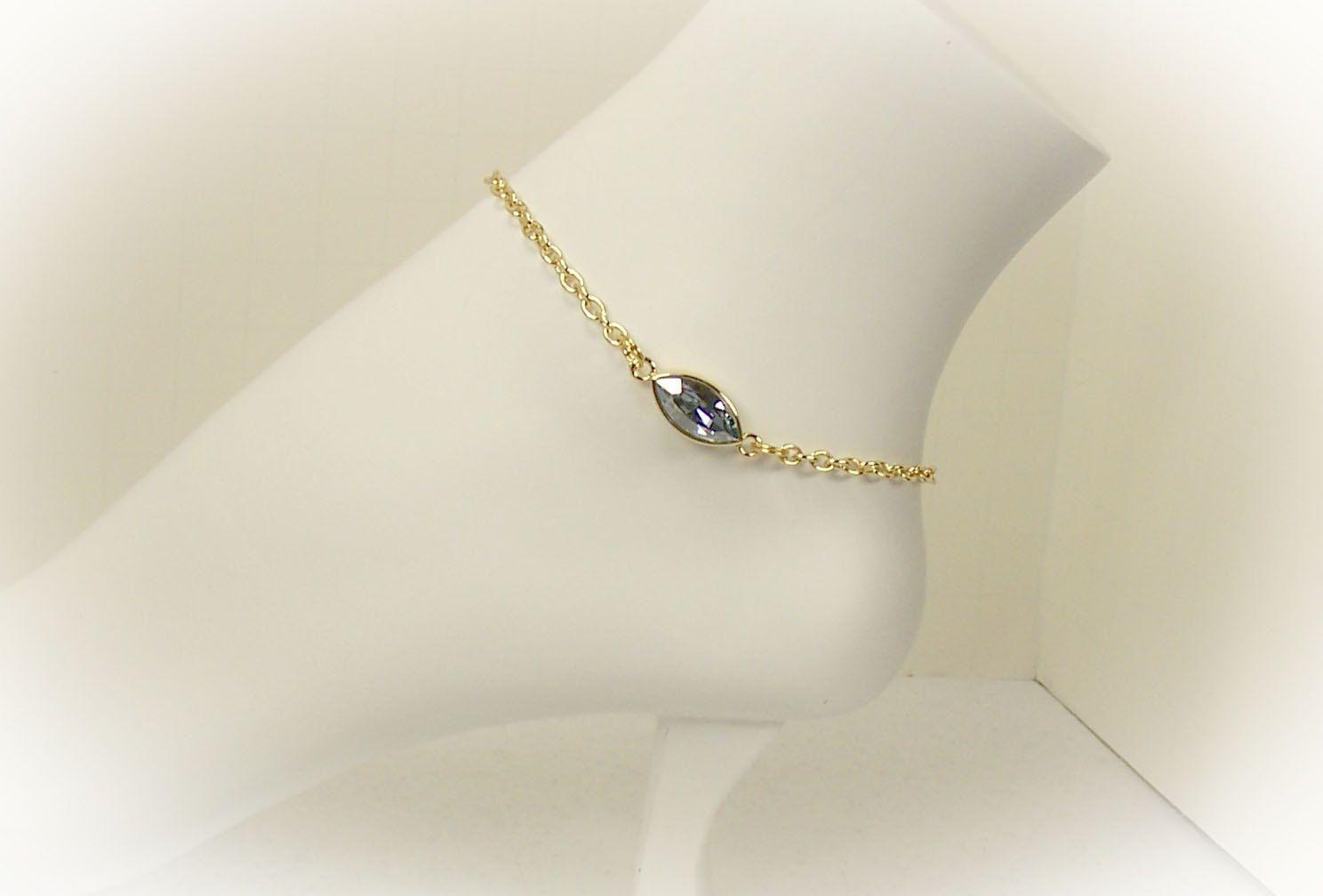 Crystal Anklet Ankle Bracelet Gold Anklet With Blue Shade Swarovski