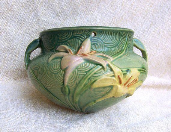 Rare Roseville Zephyr Lily Planter Hanging Basket Bowl 1946 Green