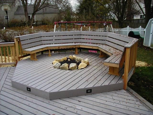 Delightful Recessed Gas Fireplaces For Deck | Recessed Firepit With Deck Lighting And  Bench