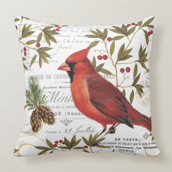 Modern vintage woodland cardinal Throw Pillow