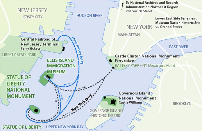 Map Of New York Islands.Map Showing Ferry Route From Lower Manhattan To Ellis Island And The