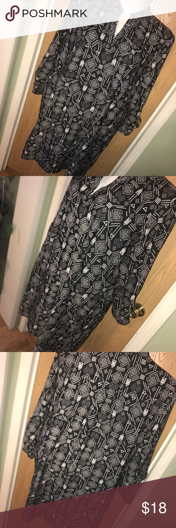 "Black & white printed shirt dress Super cute black and white printed shirt dress. Great used condition. Size 3x. 100% polyester. 28"" from armpit to armpit, 29"" from armpit to hem. indulge Dresses"