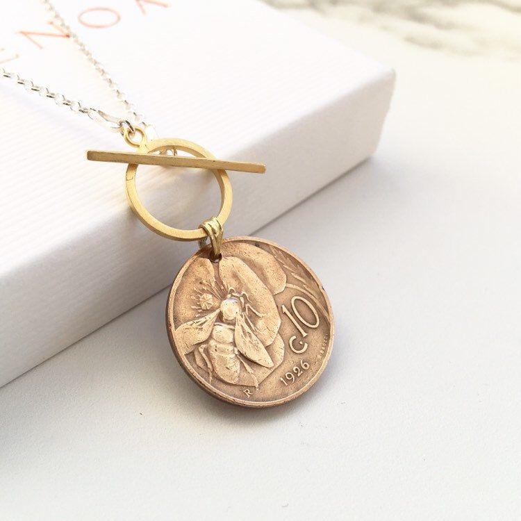Bee Jewelry Italian Coin Pendant