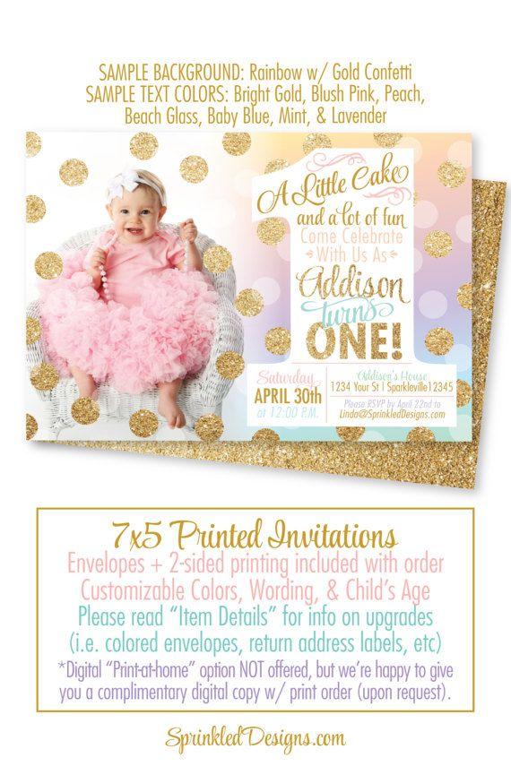 Girl First Birthday Invitation Photo Card Rainbow Unicorn Party Gold Gl 1st Birthday Party Invitations Unicorn Birthday Party Cake First Birthday Invitations