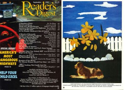 """Reader's Digest front and back cover, September 1995  Art director:Richard J. Berenson Artwork on back: """"Giant Daffodils"""" byHorace Pippin  Horace Pippin(1888-1946) was a self-taught African-Americanpainter. The injustice of slaveryand American segregationshowed prominently in many of his works.   richard j. berenson 