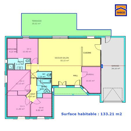Plan maison plein pied 3 chambres d coration int rieure - Plan maison plain pied 3 chambres 1 bureau ...