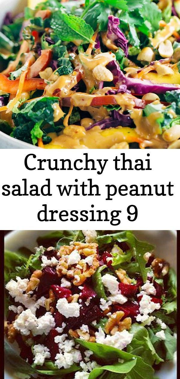 Crunchy thai salad with peanut dressing 9 #farmhouserulesrecipes Crunchy Thai Salad Recipe with Creamy Peanut Dressing - Each bite packs a powerhouse of fresh superfoods all in one irresistible bowl. Roasted Beet Salad with Walnuts  Goat Cheese - Farmhouse Rules recipe Kale and Brussels Sprout Salad is a tangy, creamy salad that's not only healthy but so delicious! Great for Gluten Free, Keto and Paleo diets! #kalesalad #kaleandbrusselssproutsalad Make this 7 Layer Green Salad the night before a #farmhouserulesrecipes