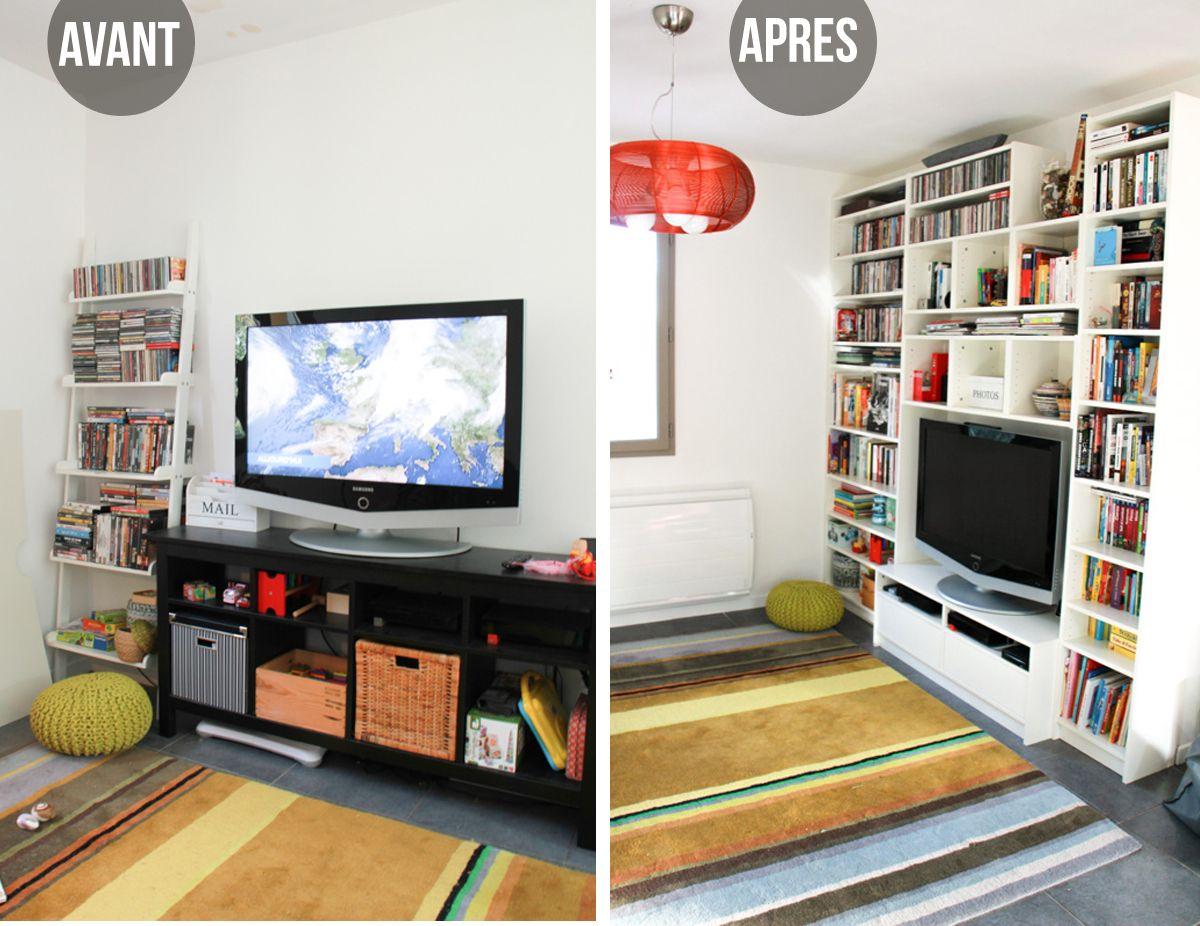 avant apr s notre biblioth que meuble t l ikea. Black Bedroom Furniture Sets. Home Design Ideas