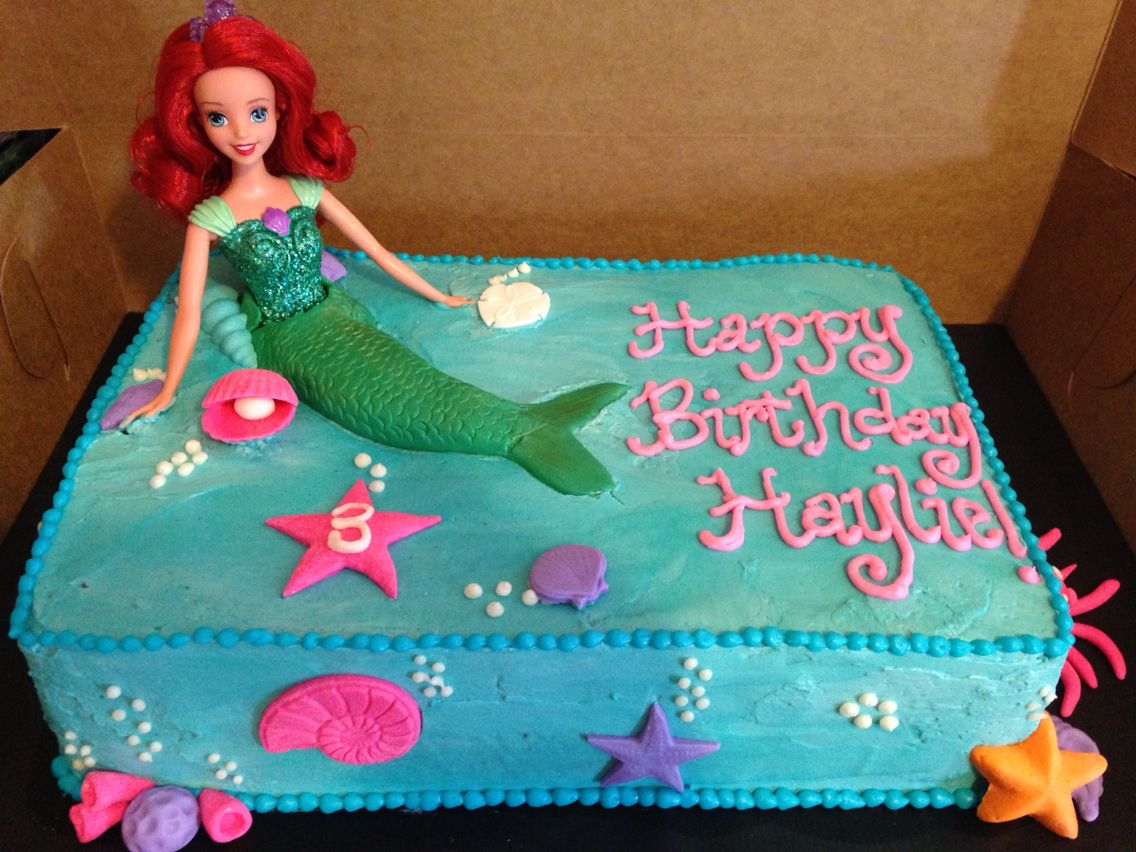 Little Mermaid Sheet Cake Mermaid Birthday Cakes Barbie