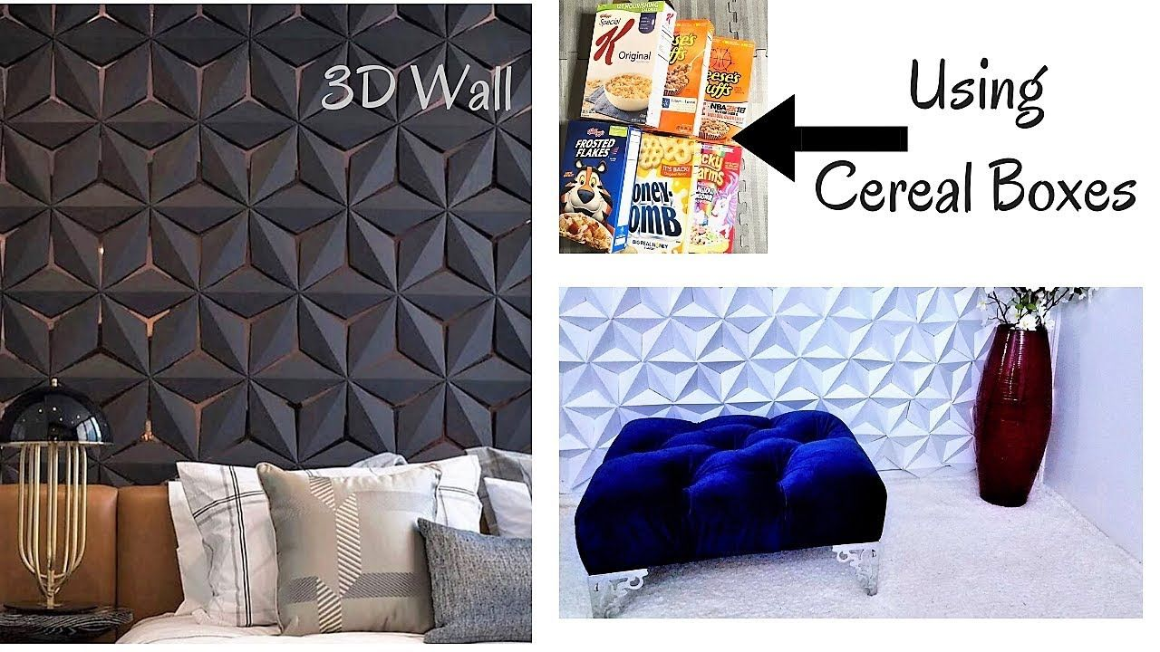 DIY 26D WALL DECOR WITH CEREAL BOXES! INEXPENSIVE ROOM DECORATING