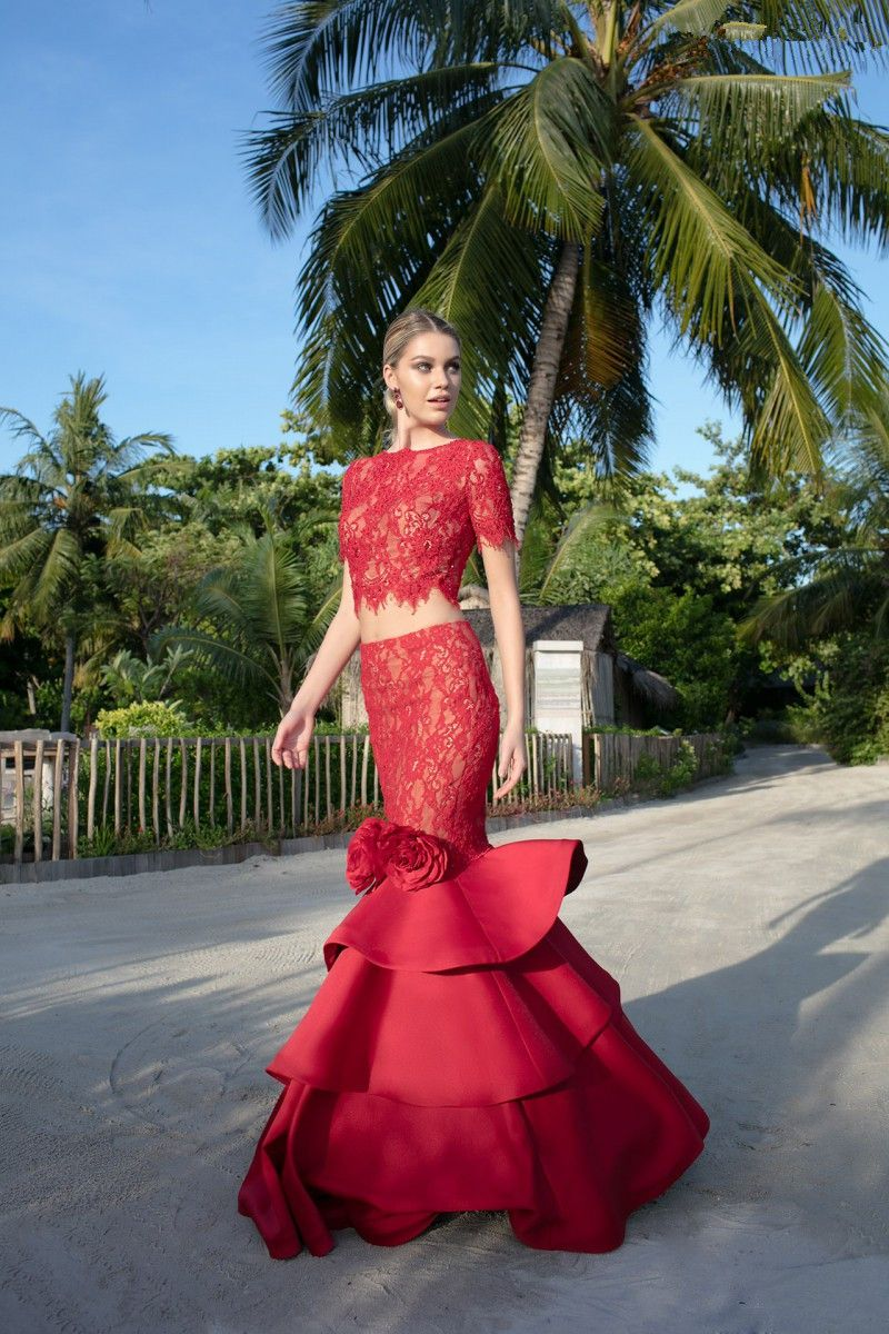 Click to buy ucuc two pieces red lace tiered prom dresses with