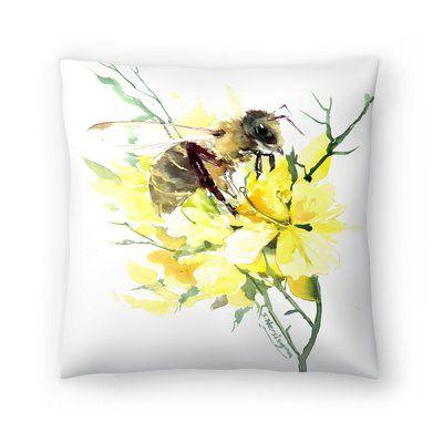 East Urban Home Honey Bee Throw Pillow Rustic decorative