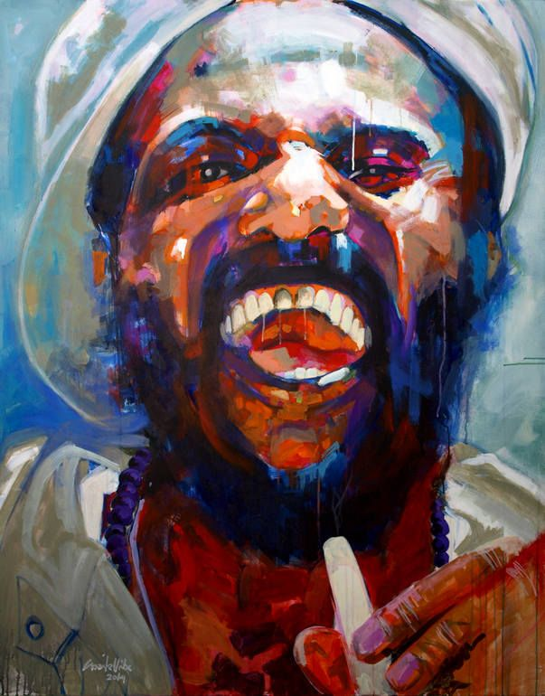 """Name: """"Like me on Facebook"""" Painting: Acrylic on Canvas. Size: 150 x 120 x 4 cm.  ...A bearded man smoking. Pure joy"""