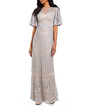 231cb9b42f3 Tadashi Shoji Petite V Neck Flutter Sleeve Lace Long Gown