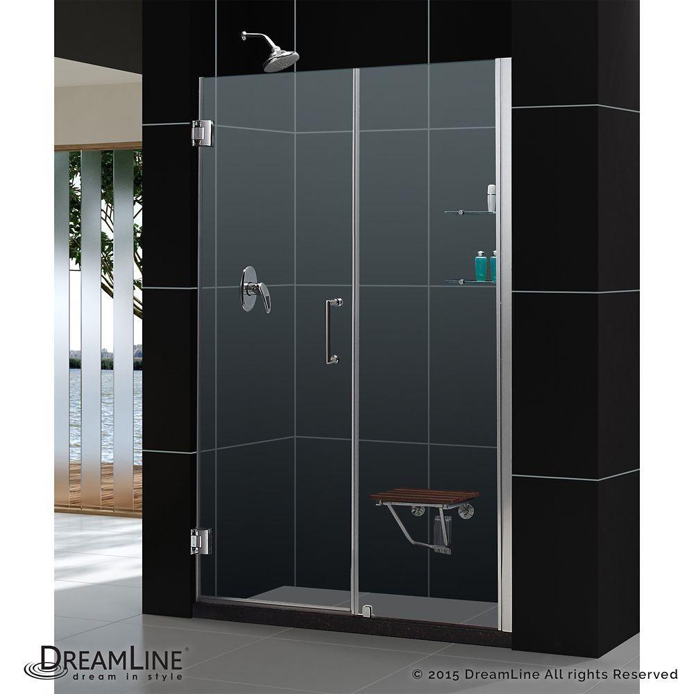 Unidoor 53 To 54 Inch X 72 Inch Frameless Hinged Pivot Shower Door