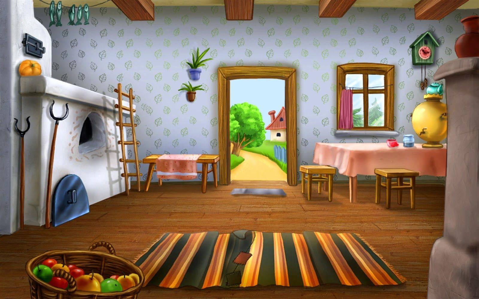 Image Result For Inside The Cottage Cartoon Home Wallpaper Artistic Wallpaper Decor