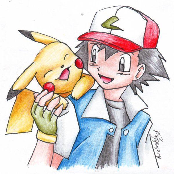 Pikachu And Ash Pokemon Sketch Cute Pokemon Anime Character Drawing