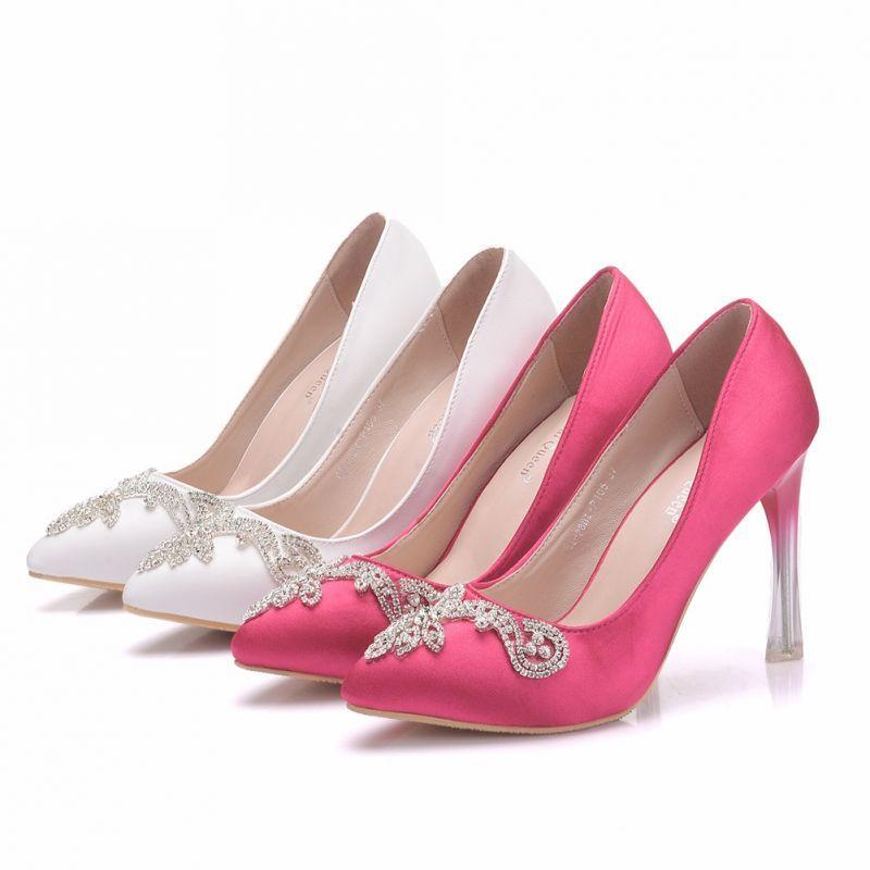 Chic Beautiful White Wedding Shoes 2018 Rhinestone 10 Cm Stiletto Heels Pointed Toe Wedding Pumps Pink Bridal Shoes Bridesmaids Heels Stiletto Heels
