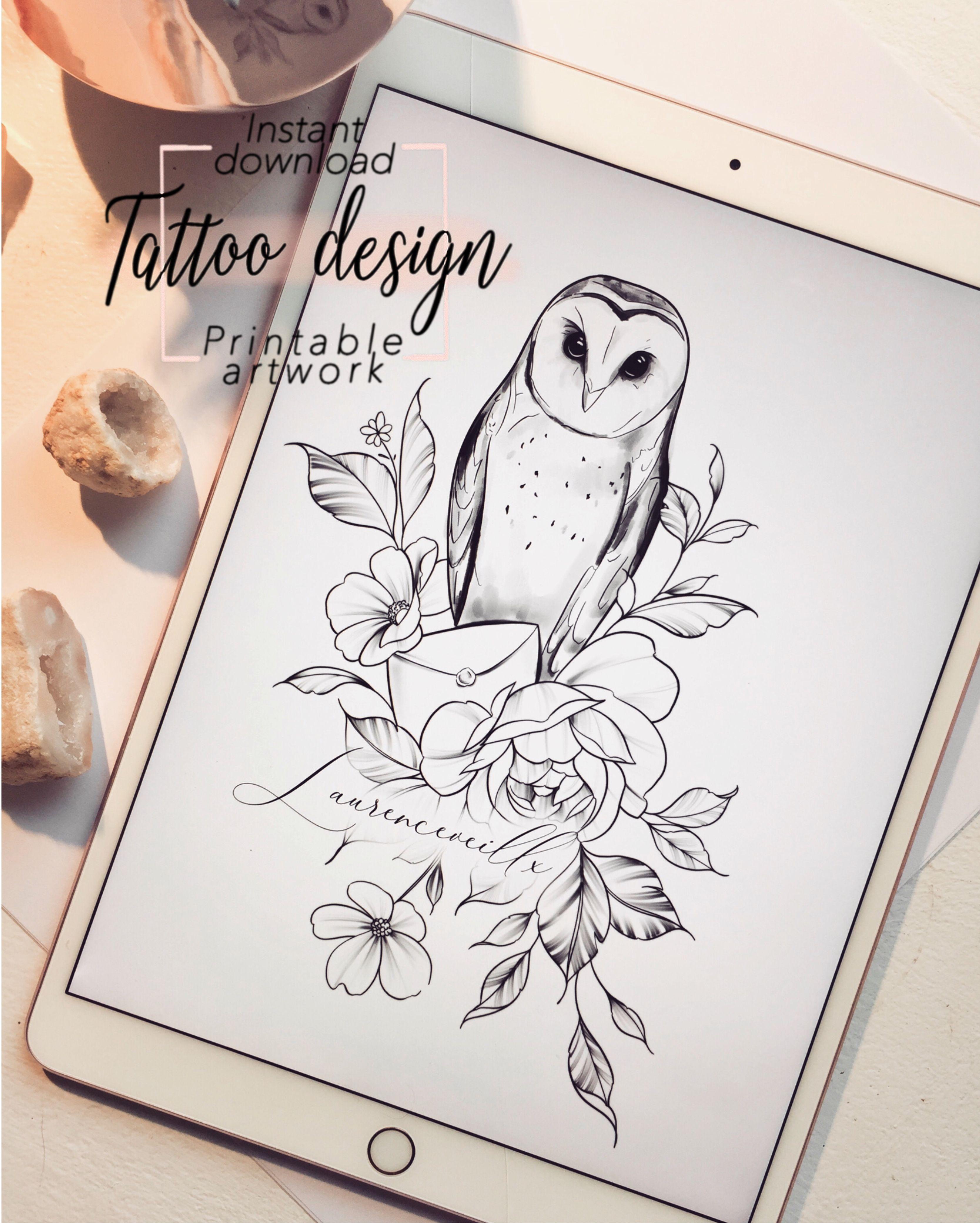 Owl Flowers Tattoo Design For Sale Harry Potter Feminine Tattoo Available On Etsy Owl Tattoo Design Flower Tattoo Designs Feminine Tattoos