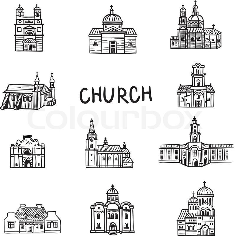 Stock vector of \u0027Set of house icons Doodles Church Line