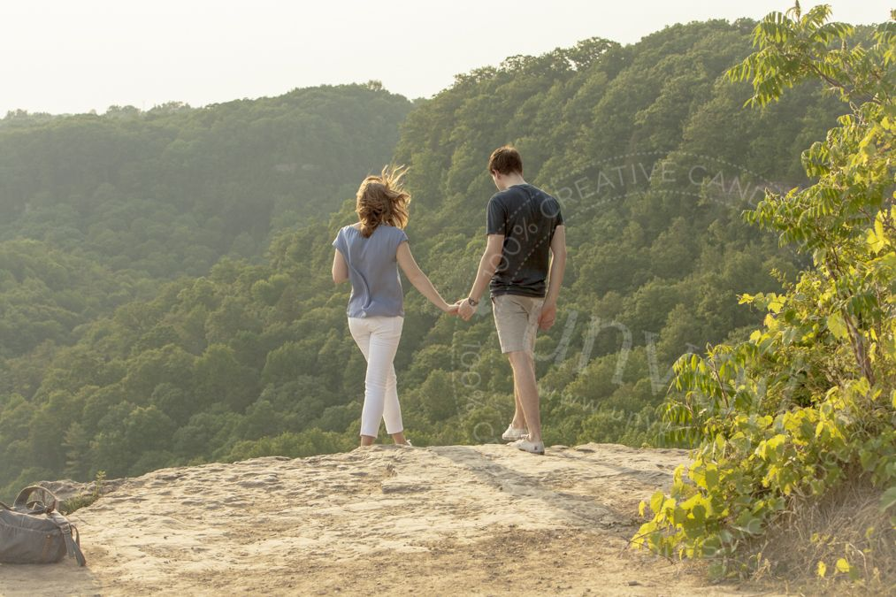 Engagement photography, hiking, outdoor photoshoot, summer afternoon, candid couple, engagement photo outfits