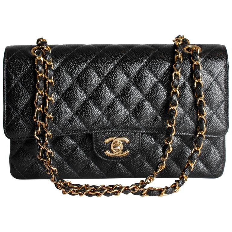 4211664e4488 Chanel 2.55 Caviar Medium Classic Double Flap Bag - black/gold | From a  collection
