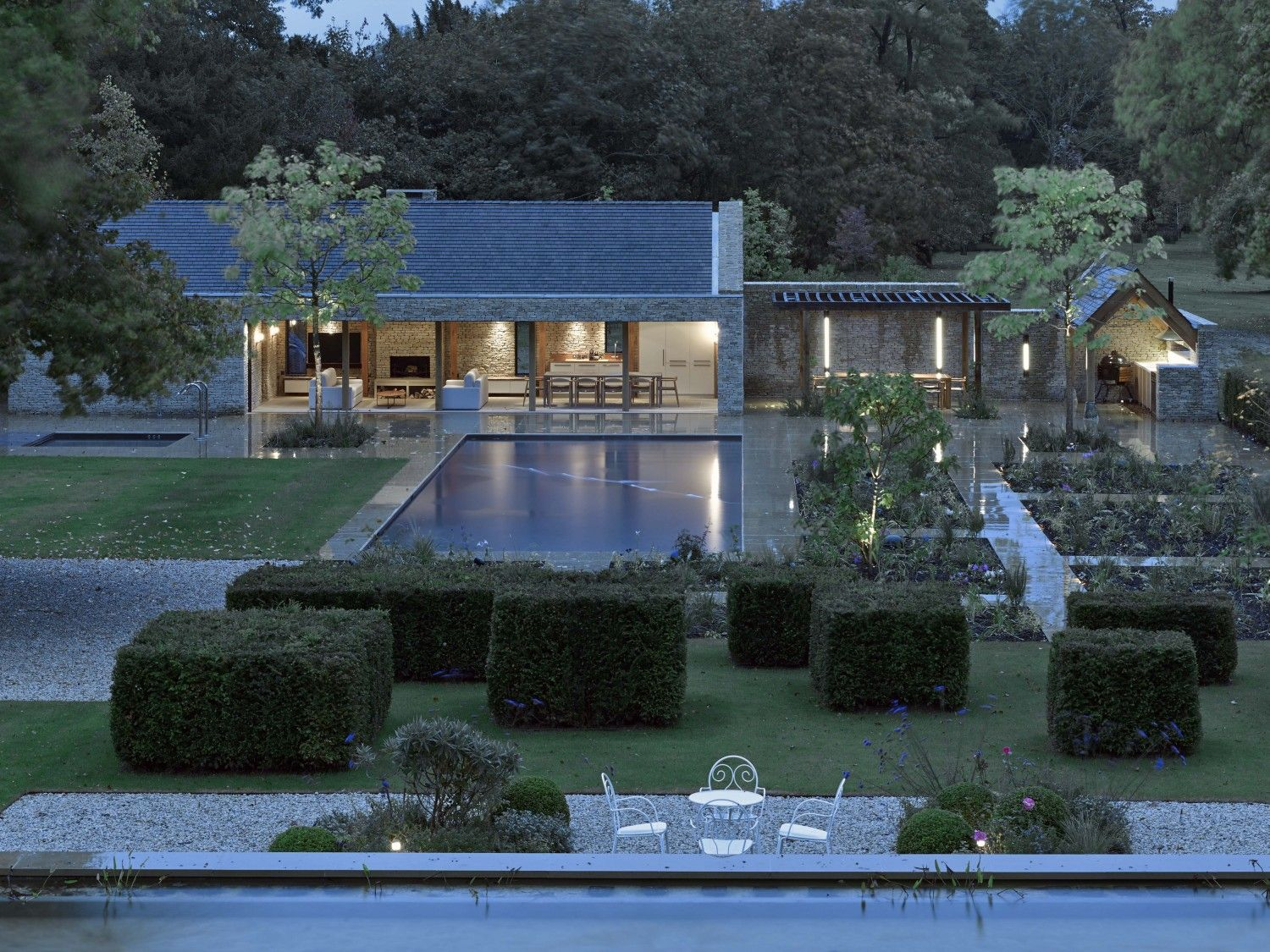 Contemporary Stone Pool House | Clipped Cube Hedges || Michaelis Boyd  Associates U2014 Oxfordshire Pool
