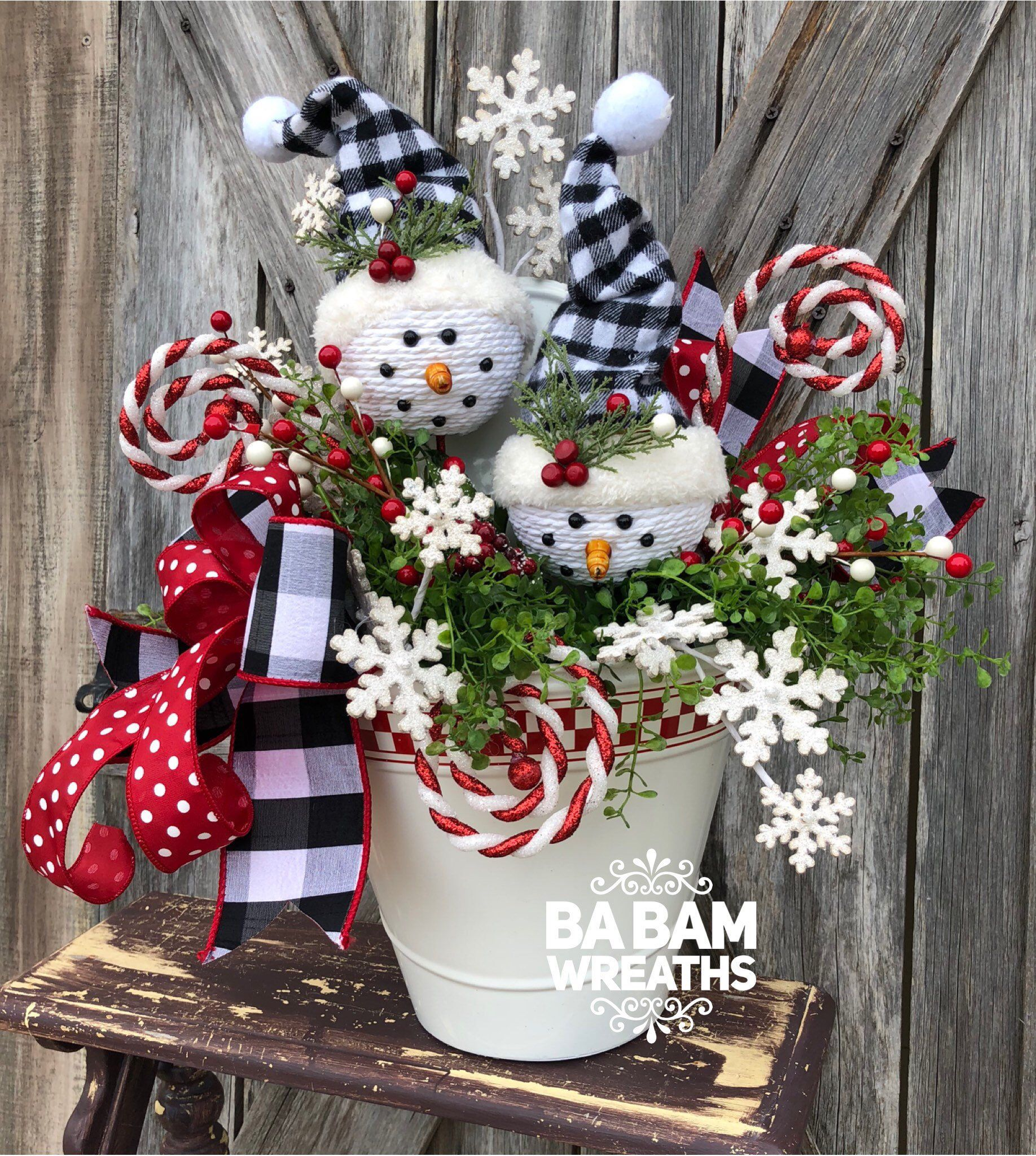 excited to share this item from my etsy shop christmas centerpiece christmas floral christmas decor snowman - Etsy Christmas Decorations