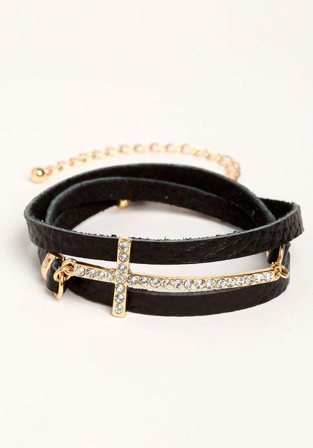 Jeweled Cross Wrap Bracelet, BLACK, large