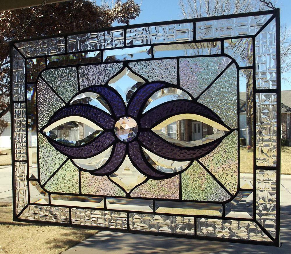 Large Stained Glass Window Panel With Bevels and Jewel in Contemporary | eBay
