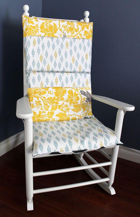 Rocking Chair Cushion Navy Polka Dot Yellow Bamboo Nursery