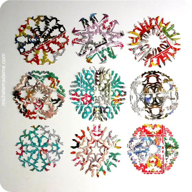 How-To: Colorful Paper Snowflakes From Junk Mail from Michele Made Me